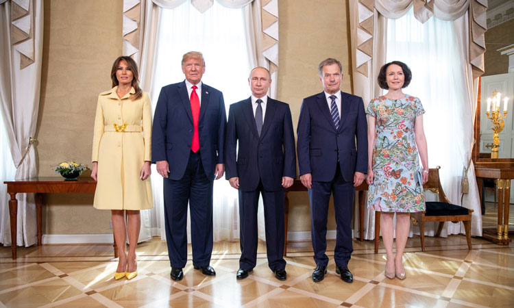 President Donald J. Trump and First Lady Melania Trump with President Vladimir Putin of the Russian Federation and President Sauli Niinistö and Jenni Haukio of Finland | July 16, 2018 (Official White House Photo by Shealah Craighead)
