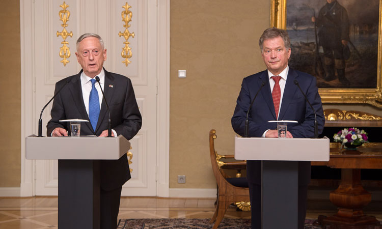 Secretary of Defense Jim Mattis and Finland's President Sauli Niinistö speak to the media at the Presidential Palace in Helsinki, Finland, Nov. 6, 2017. (DOD photo by U.S. Air Force Staff Sgt. Jette Carr)